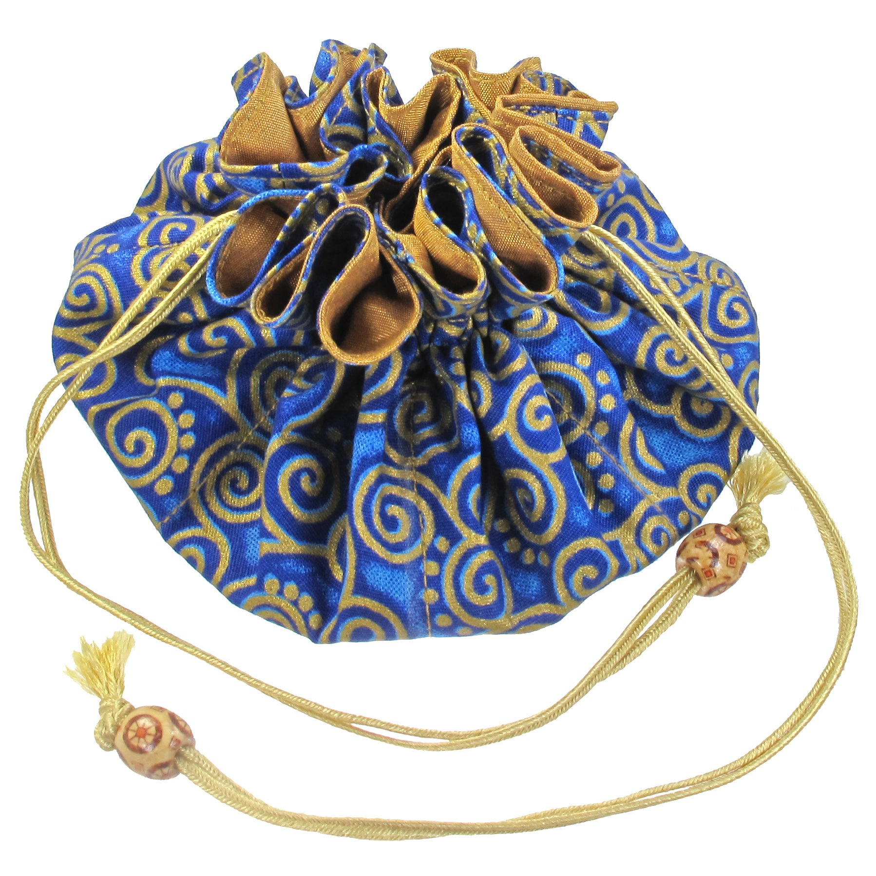 Handmade Drawstring Jewelry Pouch, 8 Pockets, Cotton, Cobalt with Gold Swirls