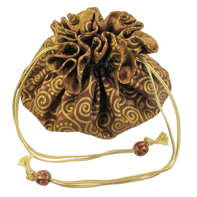 Cotton Jewelry Pouch, 8 Pockets, Gold