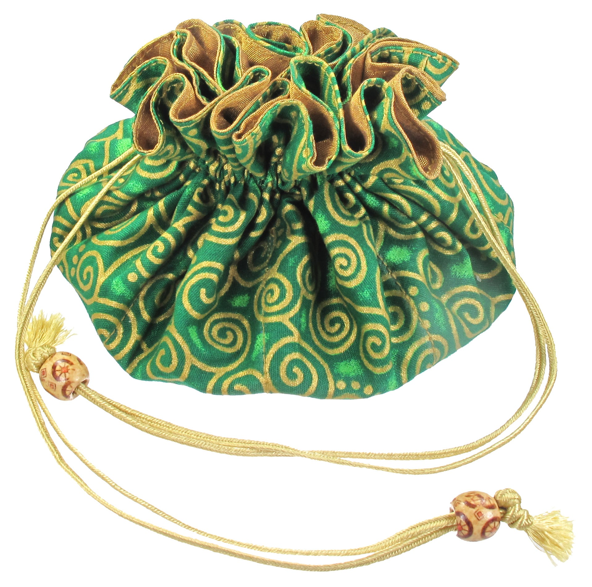 Handmade Drawstring Jewelry Pouch, 8 Pockets, Cotton, Green with Gold Swirls