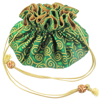 Cotton Jewelry Pouch, 8 Pockets, Green