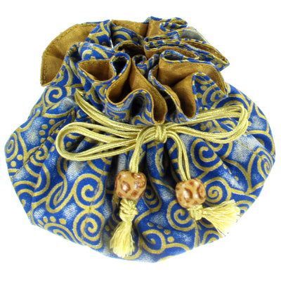 Handmade Drawstring Jewelry Pouch, 8 Pockets, Cotton, Navy Blue with Gold Swirls