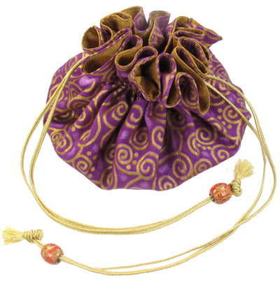 Handmade Drawstring Jewelry Pouch, 8 Pockets, Cotton, Purple with Gold Swirls