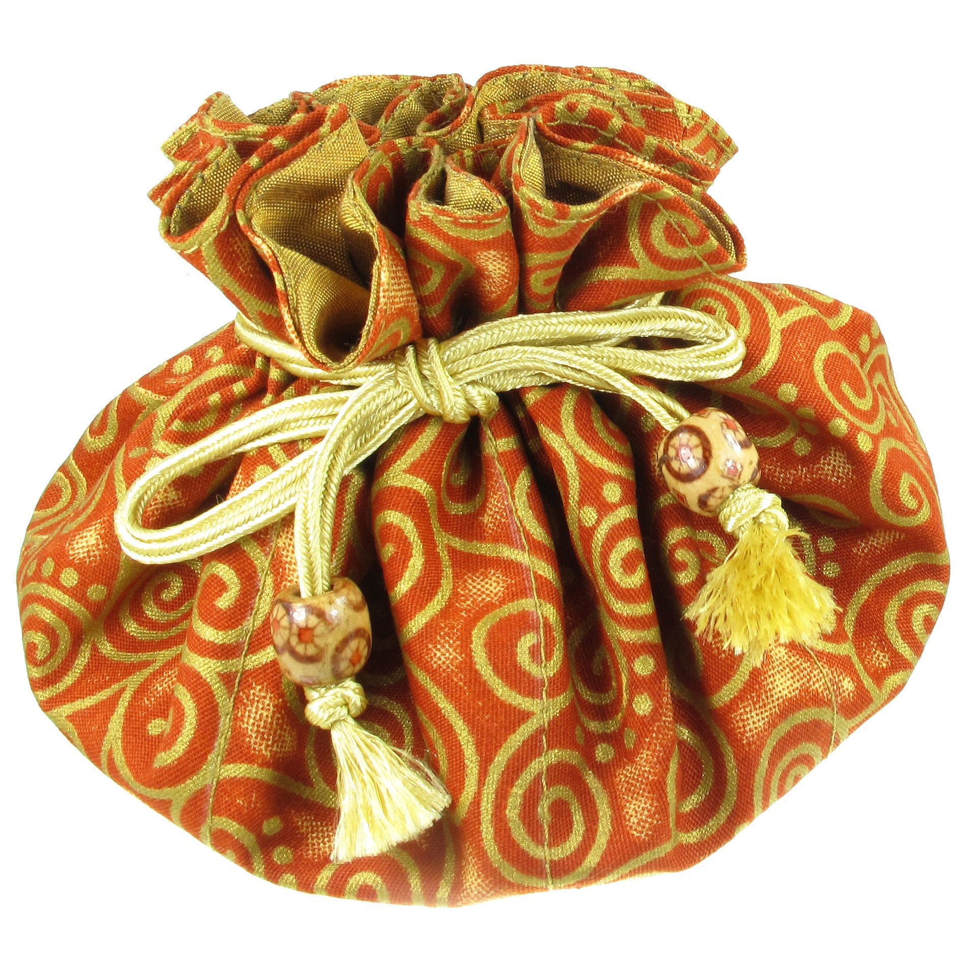 Handmade Drawstring Jewelry Pouch, 8 Pockets, Cotton, Rust with Gold Swirls