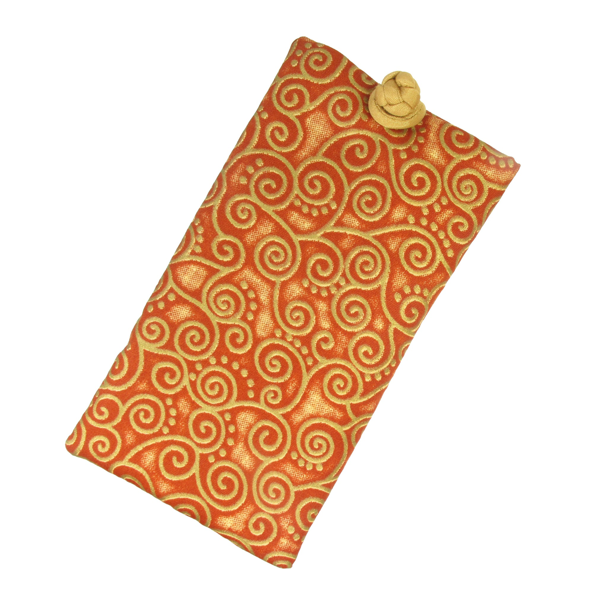 Soft Eyeglass Case (Sunglasses Pouch), Knot and Loop Closure, Cotton and Silk, Rust