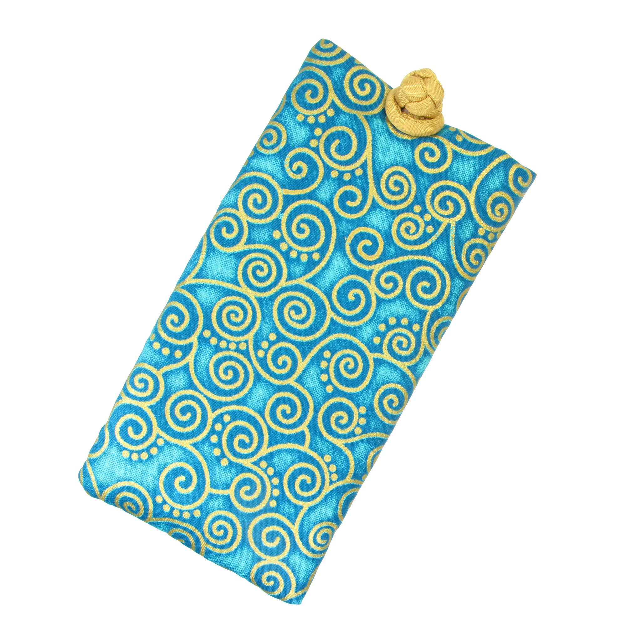 Soft Eyeglass Case (Sunglasses Pouch), Knot and Loop Closure, Cotton and Silk, Aquamarine