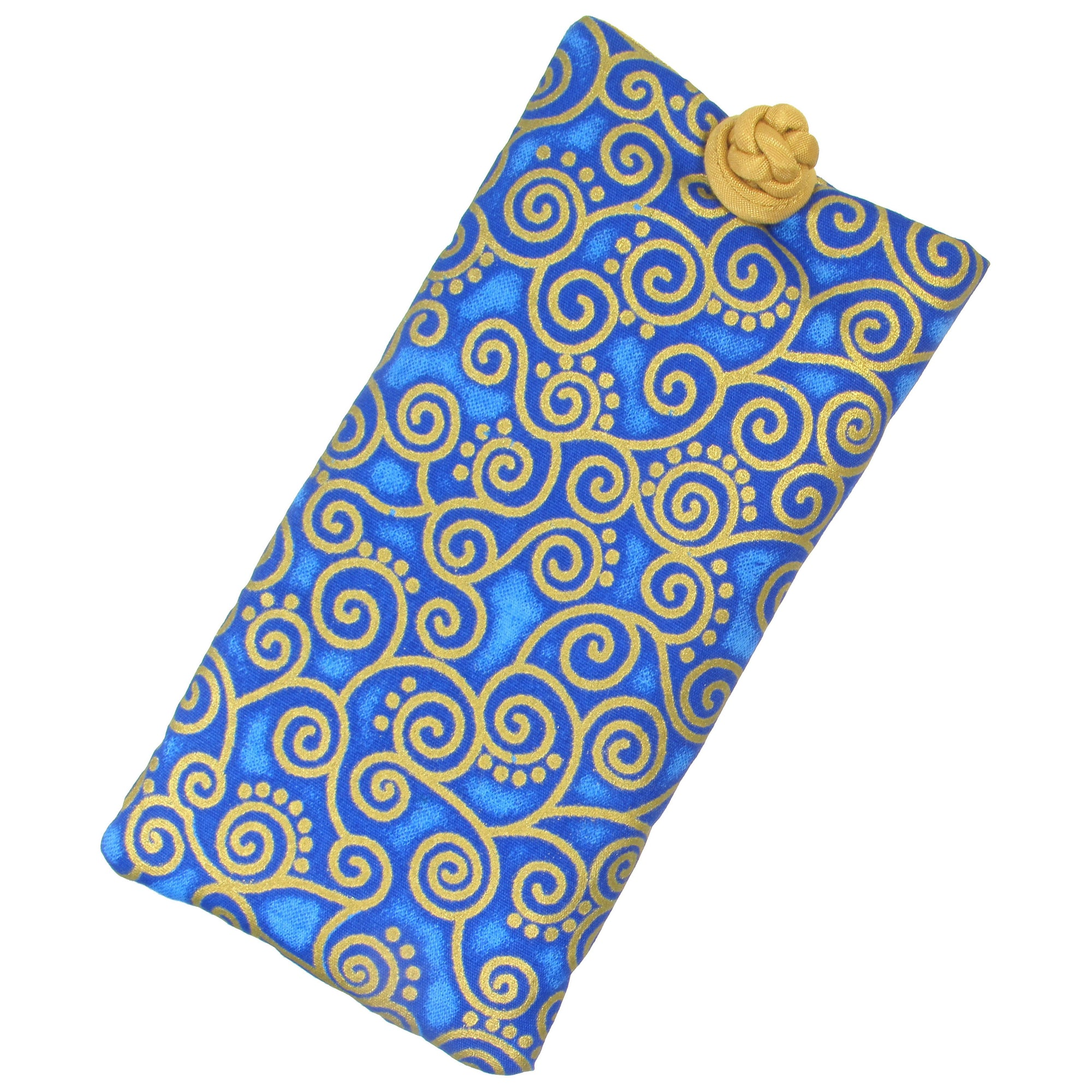 Soft Eyeglass Case (Sunglasses Pouch), Knot and Loop Closure, Cotton and Silk, Cobalt Blue