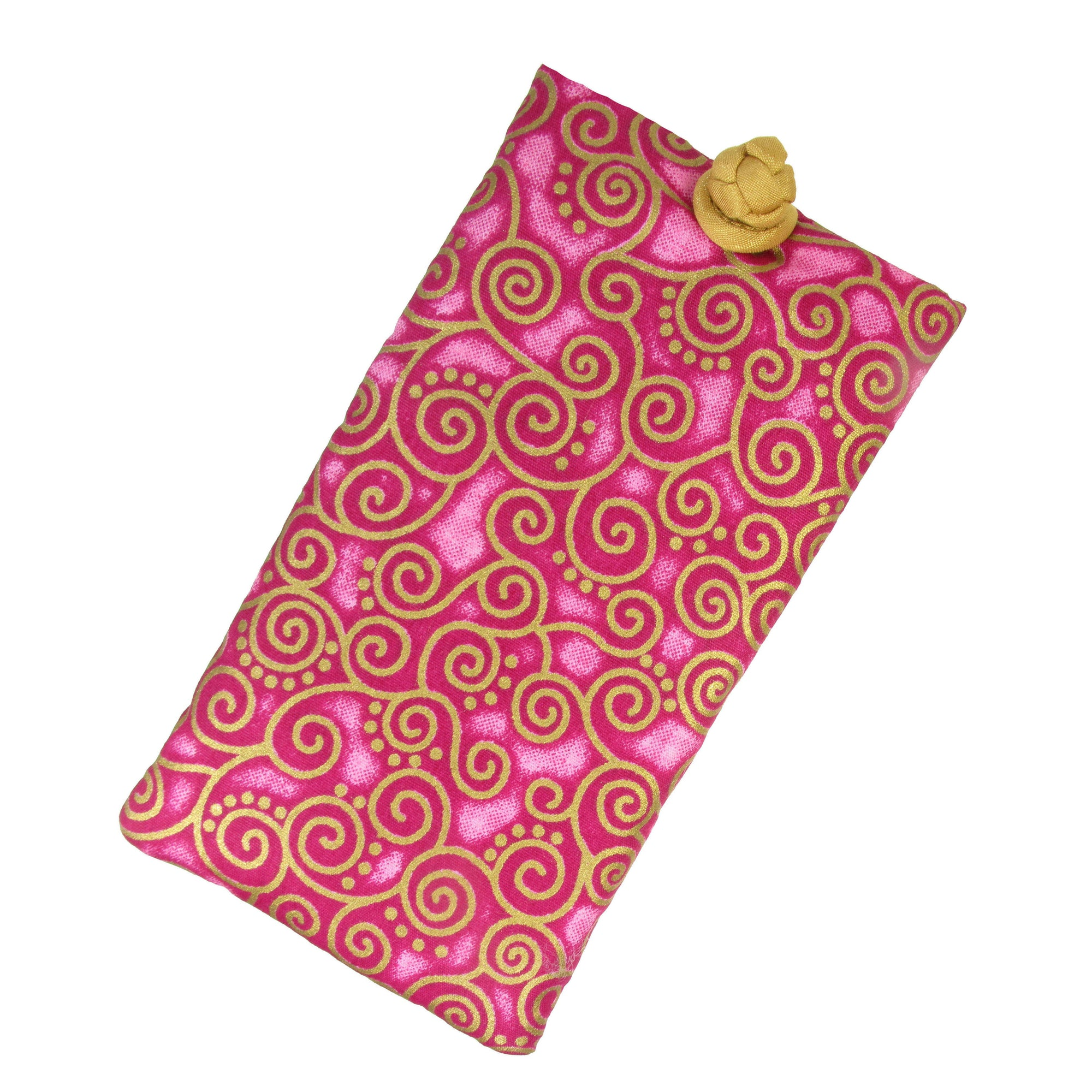 Soft Eyeglass Case (Sunglasses Pouch), Knot and Loop Closure, Cotton and Silk, Fuchsia Pink