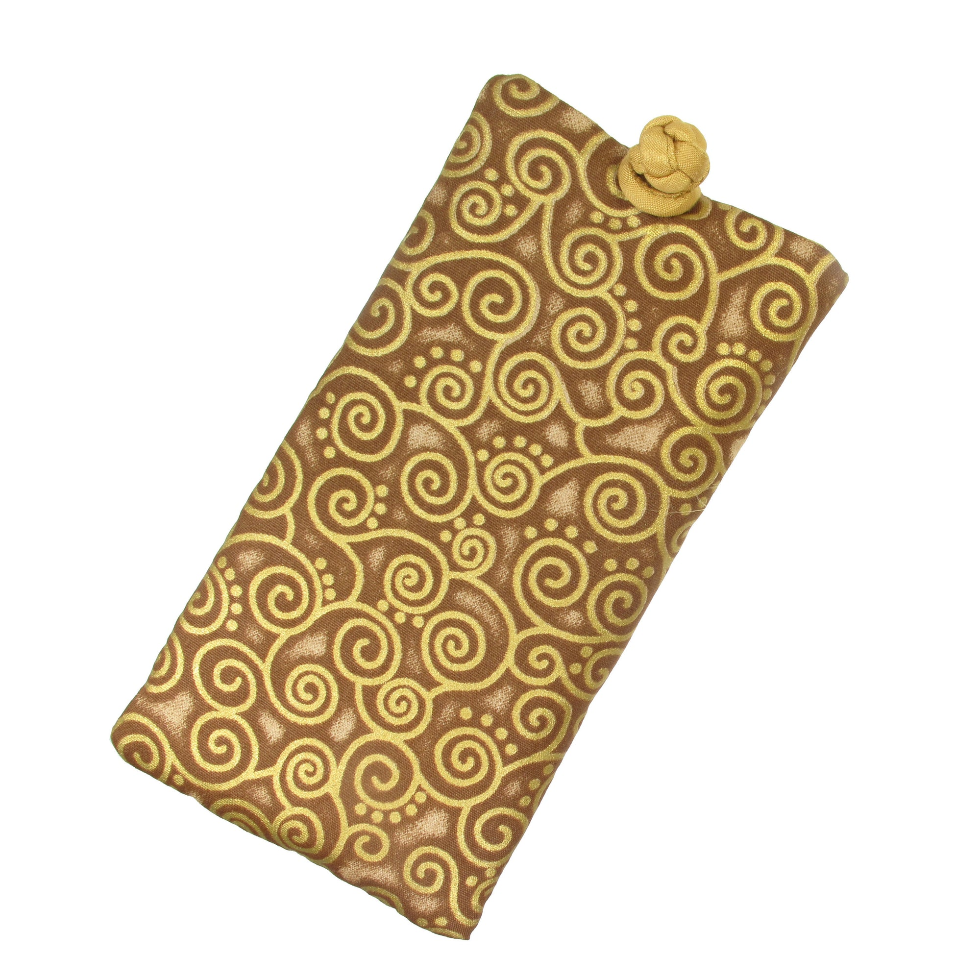 Soft Eyeglass Case (Sunglasses Pouch), Knot and Loop Closure, Cotton and Silk, Gold