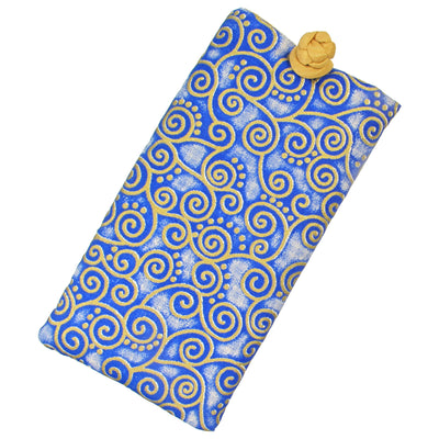 Soft Eyeglass Case (Sunglasses Pouch), Knot and Loop Closure, Cotton and Silk, Navy Blue