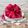 Drawstring Jewelry Pouch, Satin, Fuchsia and Silver