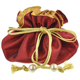 Marisa D'Amico® Silk Drawstring Jewelry Pouch in Maroon & Gold