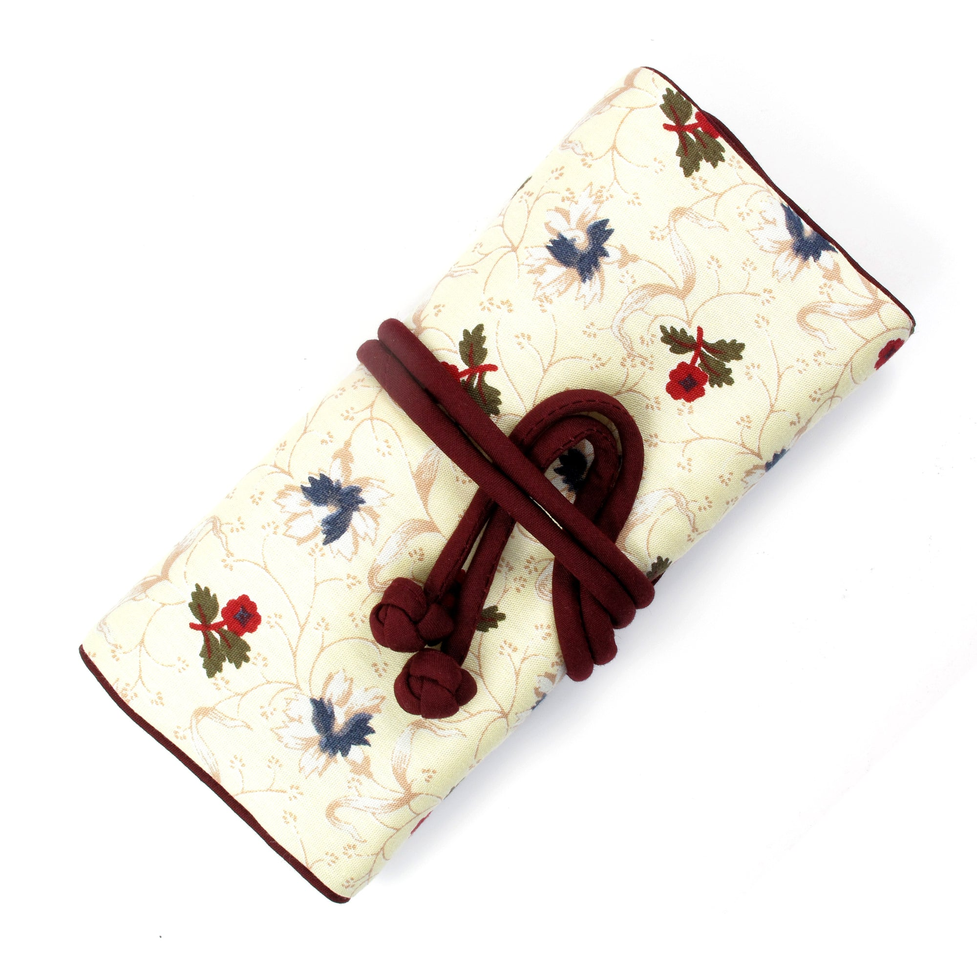 Jewelry Roll, Cotton, Maroon & Ivory
