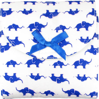 Sanitary Napkin (Sanitary Pad) Case (Bag, Pouch, Holder), Cotton Fabric, Large, Blue Elephant