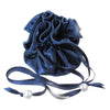 Satin Jewelry Pouch, 16 Pockets, Dark Blue