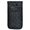 Quilted Satin Soft Eyeglass Pouch with Velcro Flap Closure in Black, Front View