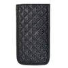 Quilted Satin Soft Eyeglass Pouch with Velcro Flap Closure in Black, Back View