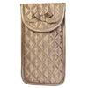 Quilted Satin Soft Eyeglass Pouch with Velcro Flap Closure in Bronze, Front View