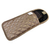 Quilted Satin Soft Eyeglass Pouch with Velcro Flap Closure in Bronze, Open View