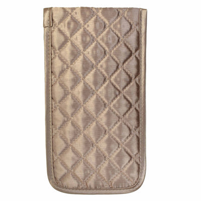 Quilted Satin Soft Eyeglass Pouch with Velcro Flap Closure in Bronze, Back View