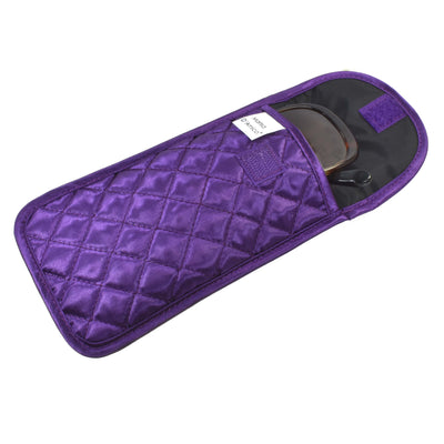Quilted Satin Soft Eyeglass Pouch with Velcro Flap Closure in Purple, Open View