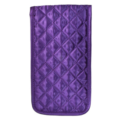 Quilted Satin Soft Eyeglass Pouch with Velcro Flap Closure in Purple, Front View