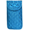 Quilted Satin Soft Eyeglass Pouch with Velcro Flap Closure in Teal, Front View