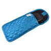 Quilted Satin Soft Eyeglass Pouch with Velcro Flap Closure in Teal, Open View