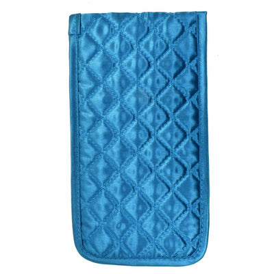 Quilted Satin Soft Eyeglass Pouch with Velcro Flap Closure in Teal, Back View