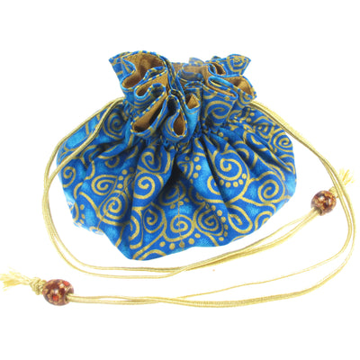 Handmade Drawstring Jewelry Pouch, 8 Pockets, Cotton, Turquoise with Gold Swirls