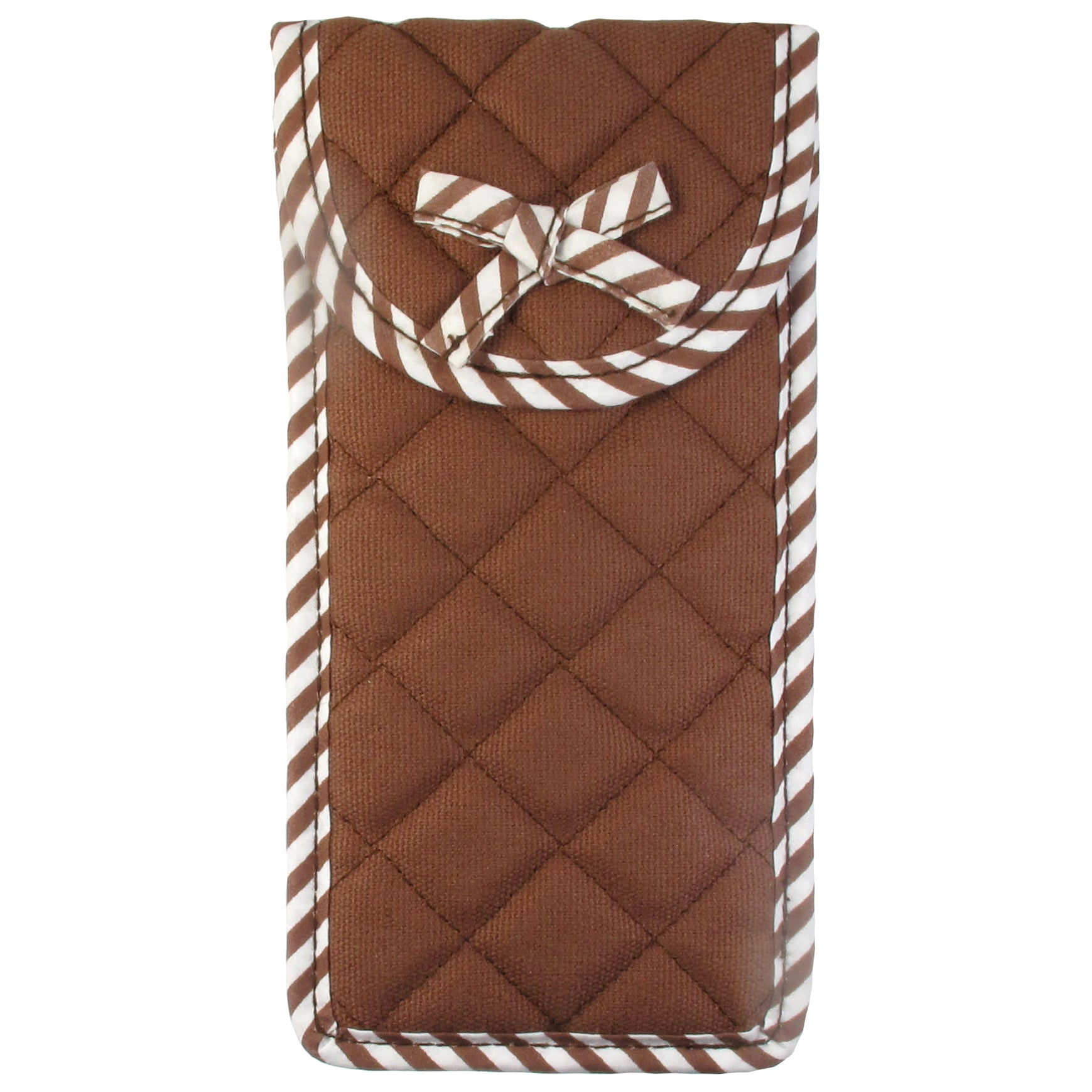 Soft Eyeglass Case (Pouch), Velcro Flap Closure, Quilted Canvas Fabric, Brown