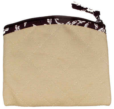 Coin Purse & Pouch, Quilted Canvas, Taupe