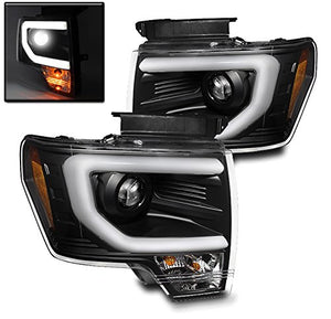 2013-2014 Ford F150 Black Projector Headlights w/ LED DTRL (HID Verson, Will not fit halogen models) - F-150 Addicts