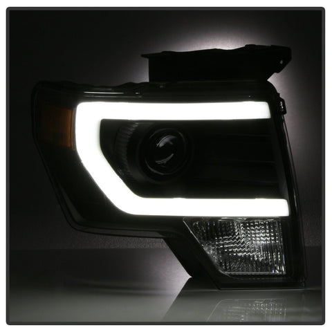 Image of 2009-2014 Ford F150 Black Projector Headlights w/ LED DTRL (Halogen Verson, Will not fit HID models) - F-150 Addicts