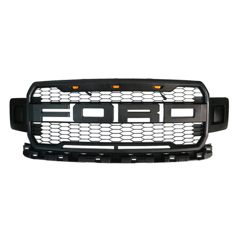 Image of 2018+ F150 Black Raptor Style Conversion Front Grille Grill W/ LETTERS