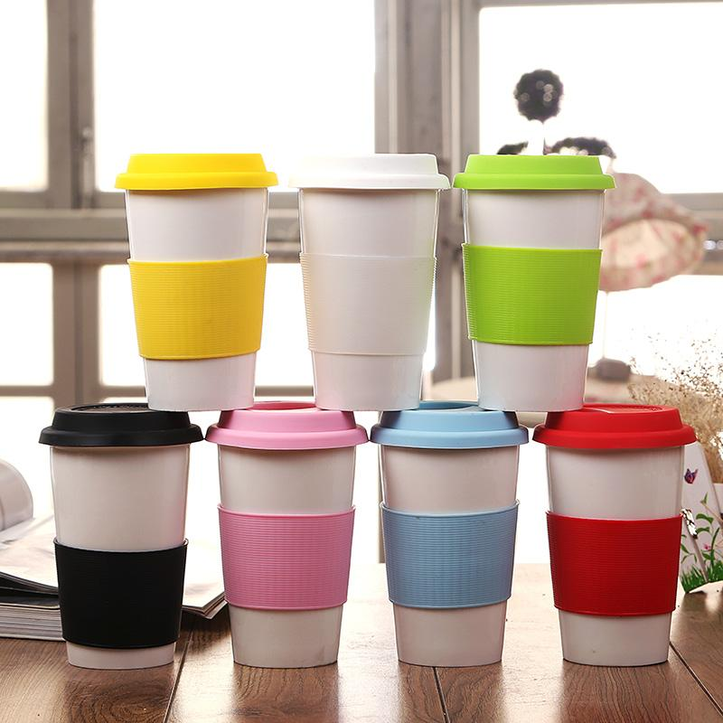 1PC Ceramic Coffee Mugs With Silicone Lid & Heat Insulated Case - Happy Wallet