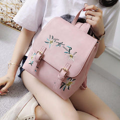 Fashion Pink Floral Leather Backpack