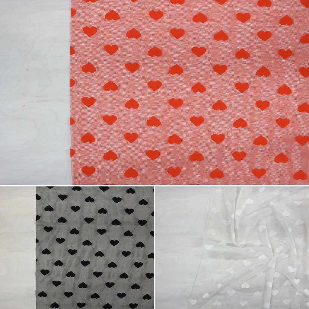 stretch mesh fabric, hearts, valentine's day, bra making fabric, panty fabric, red white or black