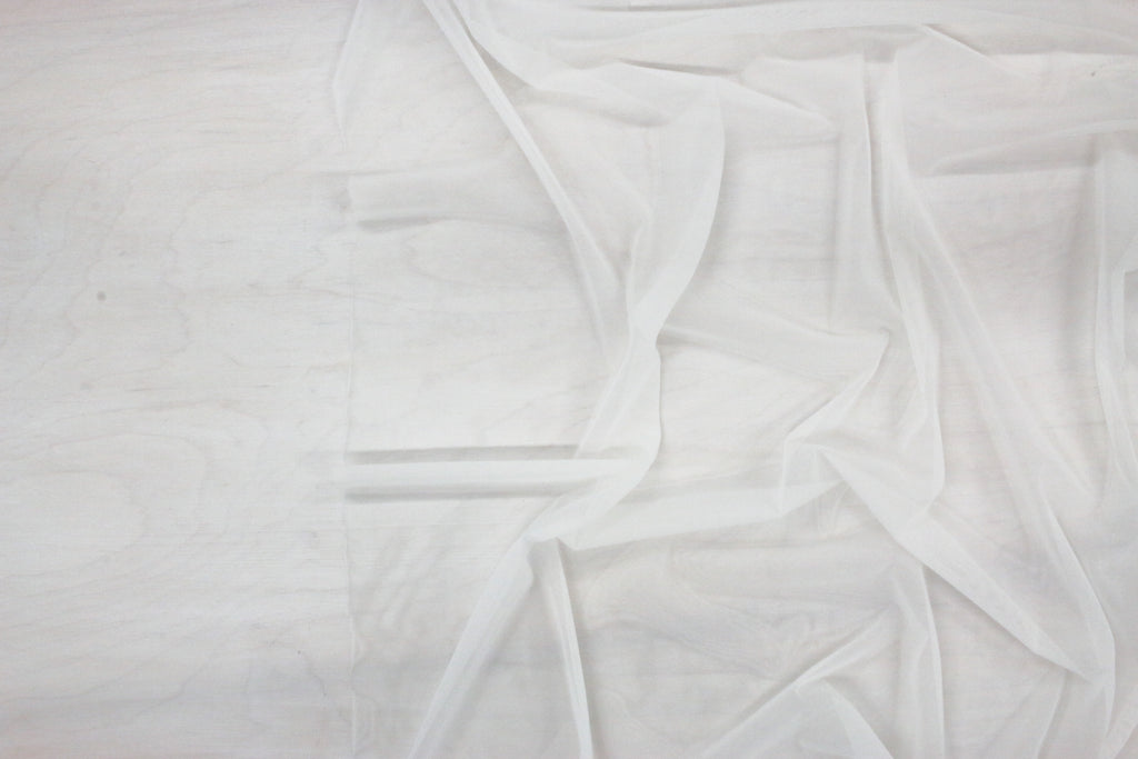 super fine stretch mesh in white making fabric