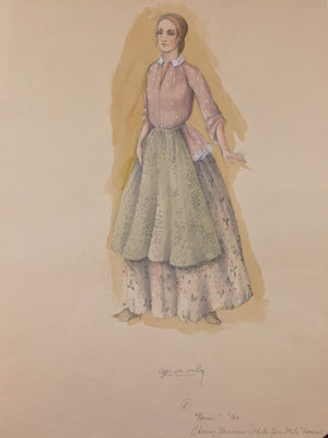 "Theoni Aldredge Original ""Barnum"" Sketch Chairy Barnum Dress"