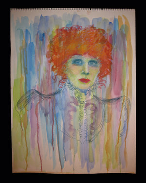 Sarah Bernhardt Portrait- Pastel And Watercolor By Charles Busch