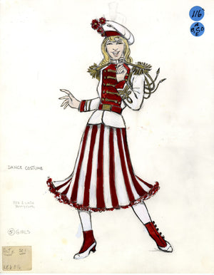 SHOW BOAT - Red/White Petticoat Chorus- Tony Award winning costume design by Florence Klotz
