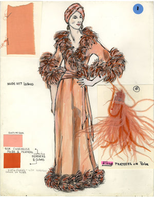 KISS OF THE SPIDER WOMAN - Original Aurora Costume Sketch by Florence Klotz