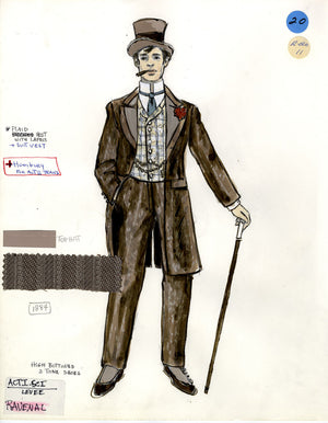 SHOW BOAT - Ravenal with Cigar- Tony Award winning costume sketch by Florence Klotz