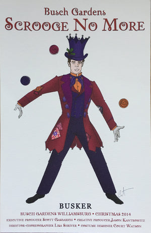 """Scrooge No More"" Busker Costume Sketch By Court Watson"