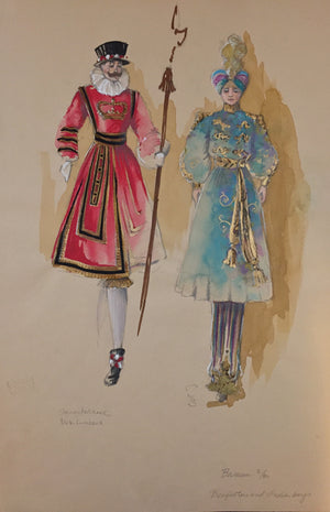 "Theoni Aldredge Original ""Barnum"" Sketch - Beefeaters & Indian"