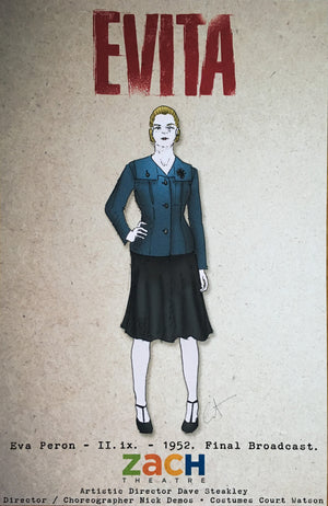 """Evita"" Evita Costume Sketch By Court Watson"