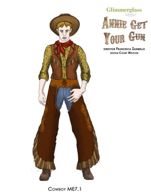 """Annie Get Your Gun"" Cowboy Costume Rendering #7 - Court Watson"