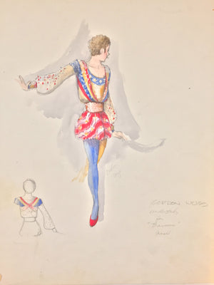 "Theoni Aldredge Original ""Barnum"" Sketch -Clown Male Understudy"