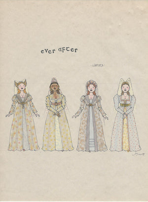 EVER AFTER -  'Ladies Ensemble' No 1 Original Costume Sketch  by Jess Goldstein