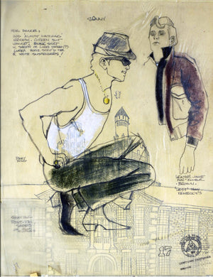 """Grease"" Autographed Broadway Costume Sketch By Carrie Robbins"